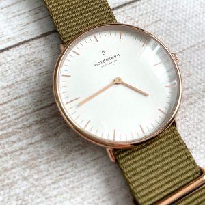 Nordgreenノードグリーン腕時計Nativeセットホワイトダイヤル ローズゴールド グリーンナイロン ブラウンレザー ローズゴールドメッシュ