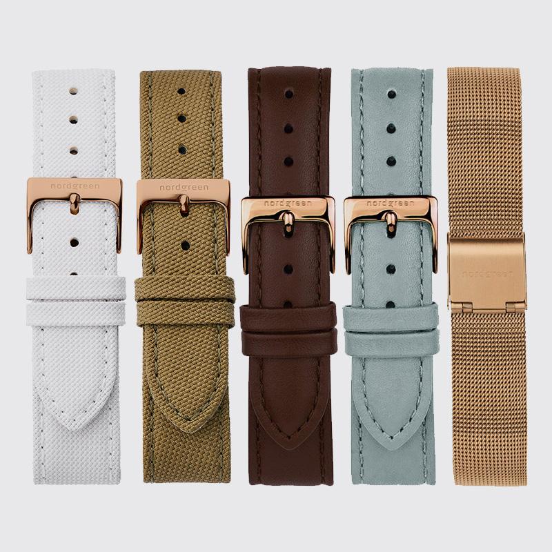 Nordgreenノードグリーン腕時計Nativeセットホワイトダイヤル ローズゴールド グリーンナイロン ブラウンレザー ローズゴールドメッシュストラップベルト